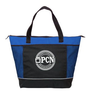 Blue insulated tote bag with black front and white PA's Neighborhood logo
